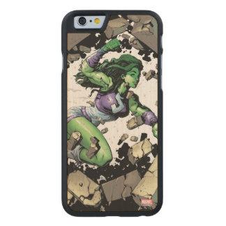 She-Hulk Smashing Through Blocks Carved Maple iPhone 6 Case