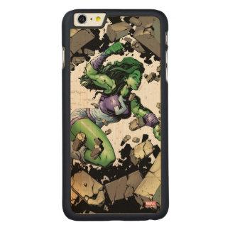 She-Hulk Smashing Through Blocks Carved Maple iPhone 6 Plus Case