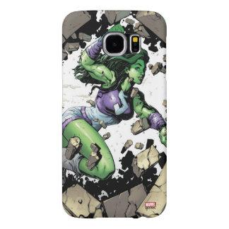 She-Hulk Smashing Through Blocks Samsung Galaxy S6 Cases