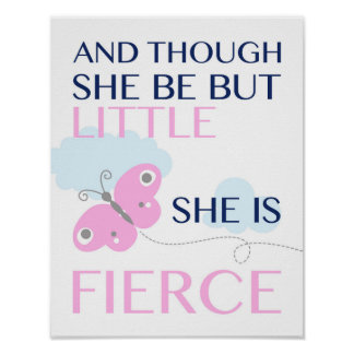She is Fierce - Pink Butterfly - Poster