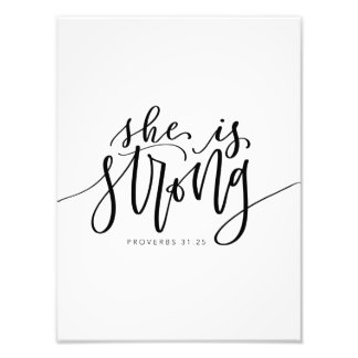 She is strong bible verse photo print