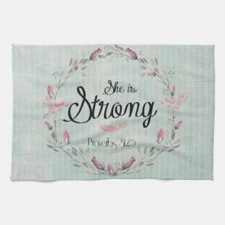 She is Strong Proverbs 31 Bible Verse Quote Kitchen Towel