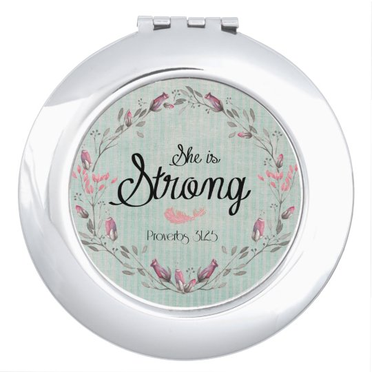 She is Strong Proverbs 31 Bible Verse Quote Travel Mirror