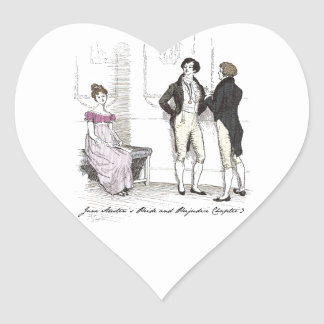 She is tolerable ... Jane Austen P&P CH3 Heart Sticker