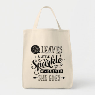 She Leaves A Little Sparkle Typography Tote