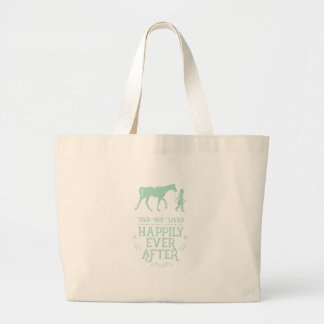 She Lived Happily Ever After Equestrian Horse Large Tote Bag