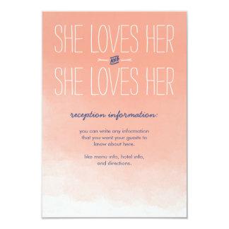 "She Loves Her Lesbian Wedding Reception Card 3.5"" X 5"" Invitation Card"