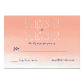 "She Loves Her Lesbian Wedding RSVP Card 3.5"" X 5"" Invitation Card"