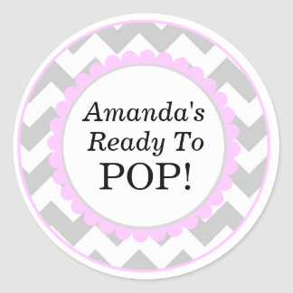She s Ready to Pop Chevron Print Baby Shower Round Stickers
