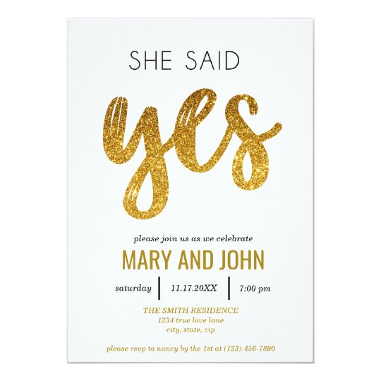 She Said Yes Engagement Party Card