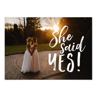 She Said Yes | Gay Lesbian Photo Save the Date Card