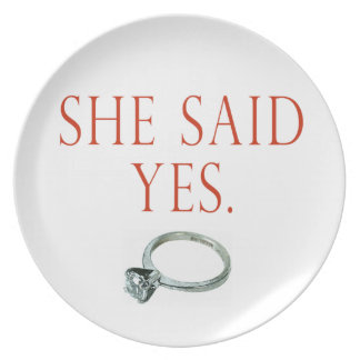 She Said Yes Groom Engagement Dinner Plates