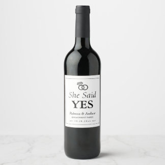 She Said Yes | Wedding Ring Engagement Party Wine Label