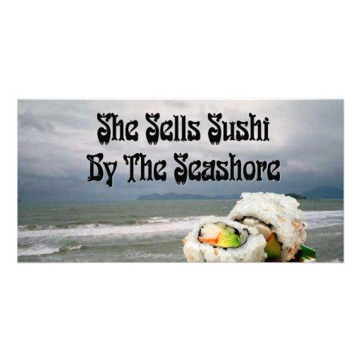 She Sells Sushi by the Seashore Photo Greeting Card