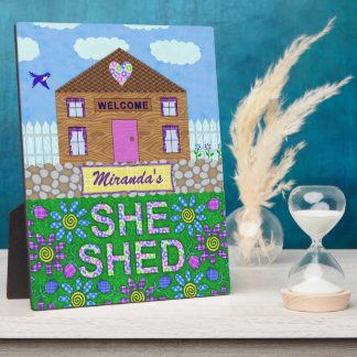 She Shed Woman Cave Garden Hut Custom Name Plaque