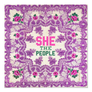 She The People Cross Stitch Card