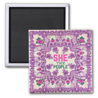 She The People Cross Stitch Magnet