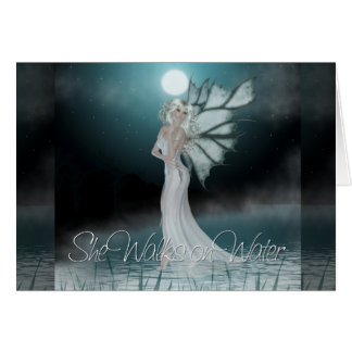 She Walks on Water 2 - Greeting Card