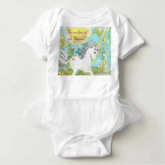 She was born to ride Unicorns! Baby Bodysuit