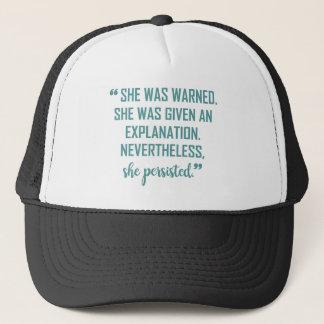 SHE WAS WARNED TRUCKER HAT