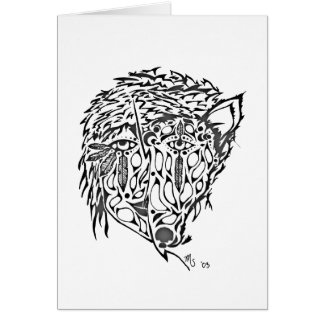 She-wolf Native American style art greeting card