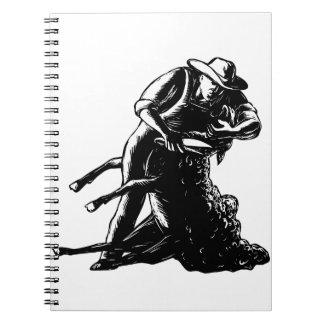 Shearer Shearing Sheep Woodcut Notebook