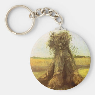 Sheaves of Wheat by Vincent van Gogh Basic Round Button Keychain