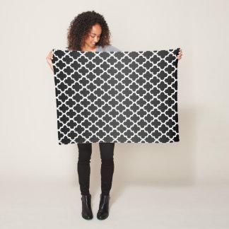 Sheen Black and White Quatrefoil Pattern Fleece Blanket