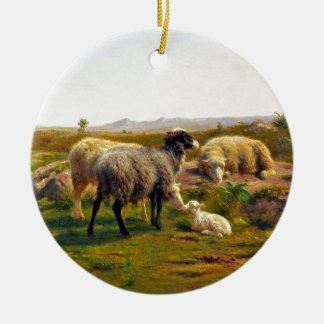 Sheep and a Lamb by Rosa Bonheur Ceramic Ornament