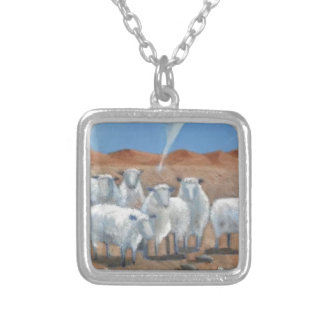 Sheep And Tornado Modern Art Silver Plated Necklace