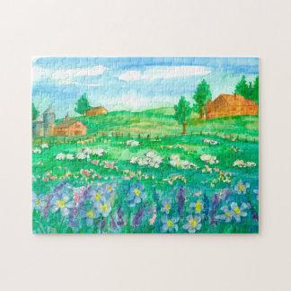Sheep Barn Wildflower Landscape Jigsaw Puzzle