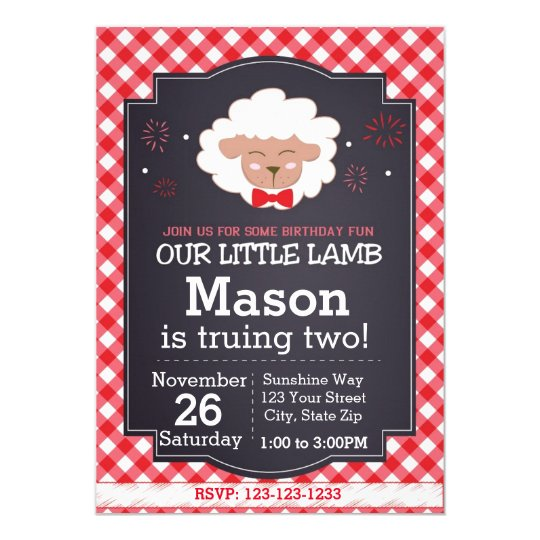 Sheep Birthday Invitation (red)