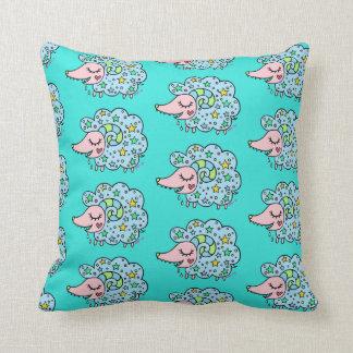 Sheep (blue) of star handle throw pillow