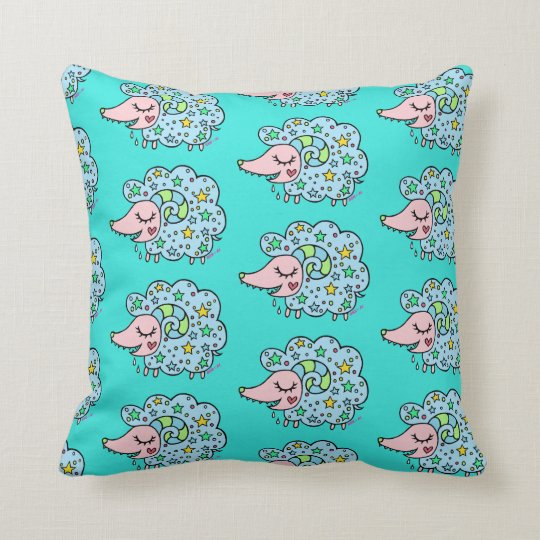 Sheep (blue) of star handle throw pillow