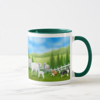 Sheep & Border Collies Ringer Mug