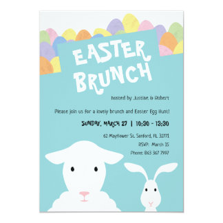 Sheep, Bunny and Eggs Easter Brunch Invitation