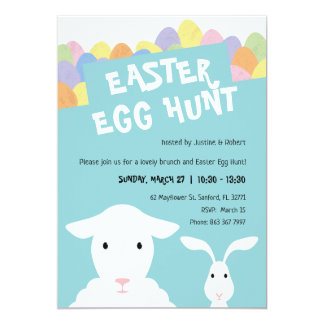 Sheep, Bunny and Eggs Easter Egg Hunt Invitation