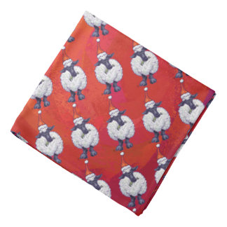 Sheep Christmas On Red Bandana