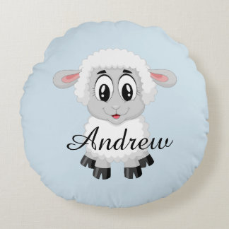 Sheep cute farm animal baby kids room round pillow
