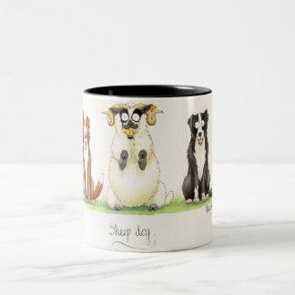 'Sheep Dog' Mug. Two-Tone Coffee Mug