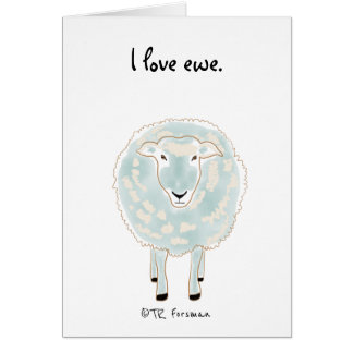 Sheep drawing simple lines and blue wool card