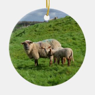 Sheep Family Ceramic Ornament