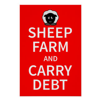 Sheep farm and carry debt poster