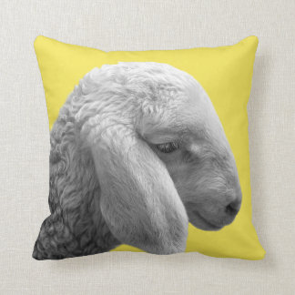 Sheep farm animal black and white photo nursery throw pillow