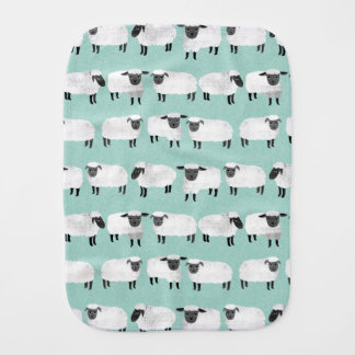 Sheep Farm Animal Sleep Pastel Mint /Andrea Lauren Burp Cloth