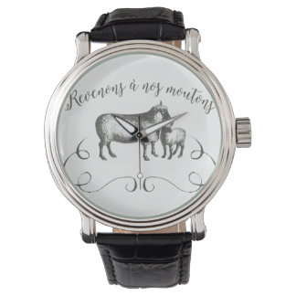 Sheep Farm Funny French Expression Vintage Style Wrist Watches