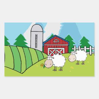 Sheep Farm Rectangle Sticker