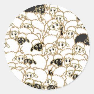 sheep flock black and white round sticker
