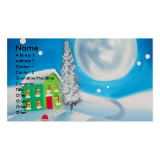 sheep folk painting full moon winter pack of standard business cards