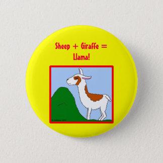 Sheep + Giraffe = Llama! 2 Inch Round Button